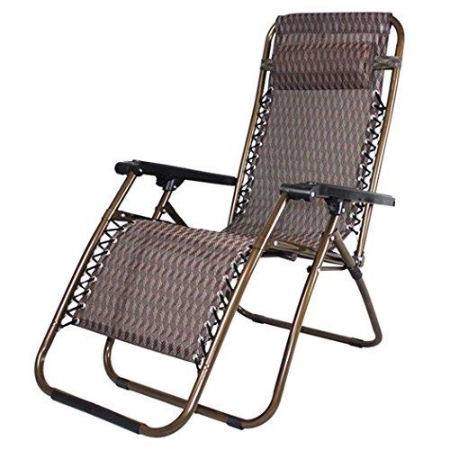 """HLC - Sedia a sdraio pieghevole regolabile a """"gravità zero"""", da interni e da esterni per relax in patio, cortile, spiaggia, giardino, piscina, colore: marrone"""