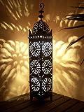 Orientalische Laterne aus Metall Schwarz Frane 74cm groß | Marokkanische Gartenlaterne für draußen, Innen als Bodenlaterne | Marokkanisches Gartenwindlicht Windlicht hängend oder zum hinstellen