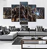 JSBVM Drucke auf Leinwand Horde World Warcraft Battle um Azeroth Bilder 5 Stück Wandmalerei Zuhause Dekoration(A: Rahmen B: Kein Rahmen)