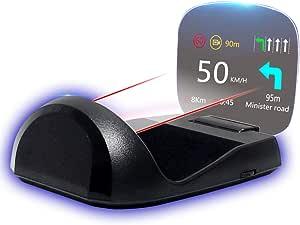 Wisamic Head Up Display Auto Headup Hud Display Obd2 Hud Display Gps Windschutzscheibe Projektor Geschwindigkeitsmesser Auto Tachometer Wassertemperaturmesser Motordrehzahl Sicherheitsalarme Auto