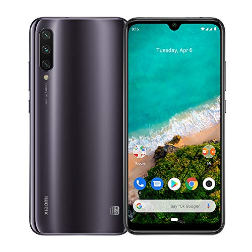 Xiaomi Mi A3 4G Smartphone, 4 + 128GB, Schermo AMOLED Full-Screen da 6.18'', Tripla fotocamera da 48 + 8 + 2 MP, 4030 mAh, Qualcomm 665 (Versione Global) (Grigio)