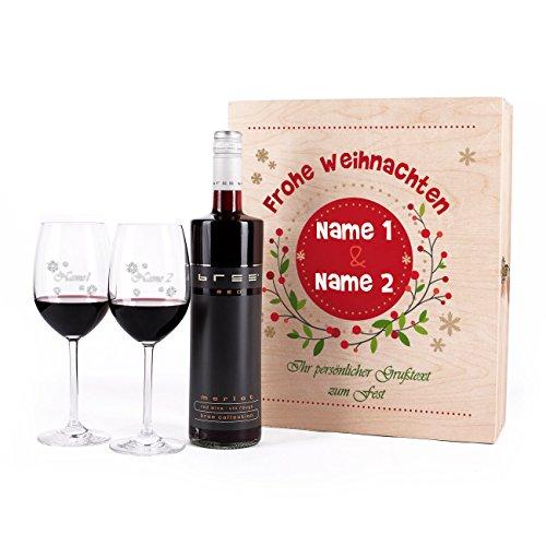 Leonardo 4tlg. Weinset zu Weihnachten mit gravierten Gläsern u. BREE Rotwein in Geschenkkiste