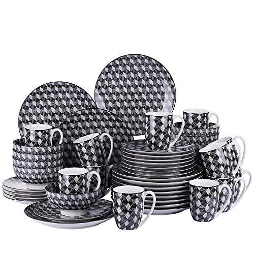 Santa Clara Juego de Vajillas 48 Piezas Servicio Combinacion con 12 Tazas de Desayuno/Cuencos/Platos para 12 Personas
