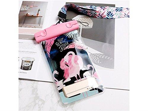 QINCH Wasserdichte Handytasche mit tragbarem Lanyard-Telefonzubehör Personalisierte Flamingo-Landschaft