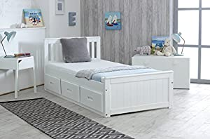 Cloudseller Children's/Kids 3ft Single Captain Cabin Storage Solid Pine Wooden Bed Bedframe - Finished in White (Made from Brazilian Sustainable Pine)