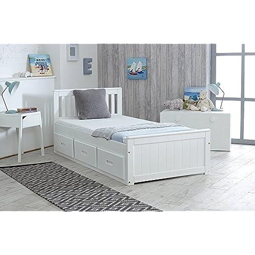 Cloudseller Childrens Kids 3ft Single Captain Cabin Storage Solid Pine Wooden Bed Bedframe