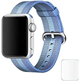 Brain Freezer Replacement Woven Nylon Watch Strap Apple IWatch Series 1, Series 2 , Series 3 38MM Tahoe Blue Watch Not Including Plus Screen Guard