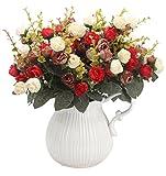 Amkun Kunstblumenstrauß mit künstlichen Rosen, 7Stiele, 21Blüten, Seidenblumen, toll als Deko für Zuhause, Hochzeiten, Partys, 2Stück Red Coffee