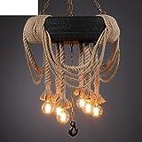 moderne Kronleuchter kreative Persönlichkeit Seil Reifen Retro-Dekoration im Wohnzimmer Licht-A