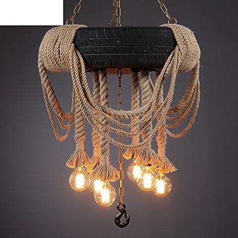 moderne Kronleuchter kreative Persönlichkeit/Seil Reifen Retro-Dekoration im Wohnzimmer