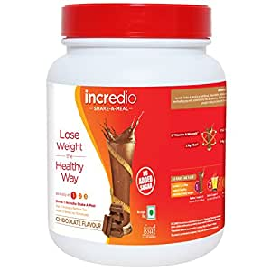 Incredio shake-a-meal-Meal Replacement Shake with 14g Protein, 2.8g Fiber and 27 Vitamins and minerals, saves more than 600 calories and provides satiety , for Weight Management  1kg, chocolate flavor