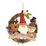 Uemaker - Ciondolo in rattan, a forma di cerchio, albero di Natale, a forma di pupazzo di neve, a forma di elchio, in rattan, decorazione