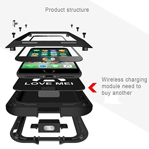 iPhone Case Cover LOVE MEI pour iPhone 7 Plus Triangle de la ceinture Triobump Professional et puissant anti-poussière antichoc anti-dérapant en métal Housse de protection ( Color : Yellow ) Silver