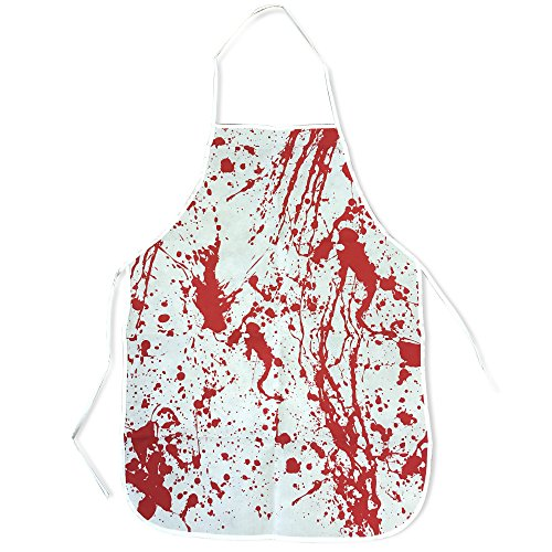 Kochschürze blutig – Blutbad Halloween Schürze mit Blutflecken – ideale Schlachterschürze mit Blutspritzern für Halloweenpartys und (Kostüm Schurz Halloween)