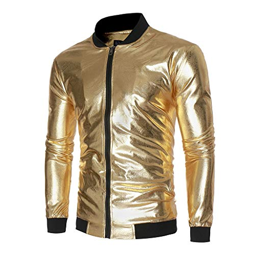 Männer Herbst Winter Slim Fit Sport Jacket Strickjacke Jacke Langarm Helles Gesicht Gedruckt Party Jacke Outwear Top Bluse/Herren Zip Neck Sweat Sweatshirt Streetwear(Gold,L)