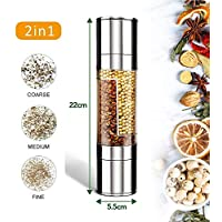 ZGJT Salt and Pepper Grinder, 2 in 1 Manual Salt and Pepper Mills with Double Ended Design, Homemade Spice Grinder,Stainless Steel Head/Transparent Acrylic Body