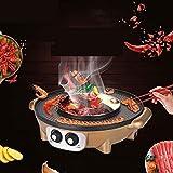 J&A all-in-One BBQ Grill Padella elettrica Pentola elettrica Multifunzione, casa Forno Elettrico Antiaderente No Fumo Grill Elettrico Barbecue (Colore : Oro, Design : Double Taste)