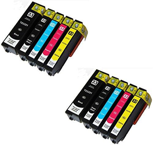 Preisvergleich Produktbild 10 XL Druckerpatronen für Epson XP-530, XP-540, XP-630, XP-635, XP-640, XP-645, XP-830, XP-900 | kompatibel zu Epson T3351, T3361, T3362, T3363, T3364 / 33XL