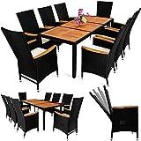 Deuba Poly Rattan Sitzgruppe 8+1 Schwarz | 7 cm dicke Sitzauflagen | Tisch + Armlehnen aus Akazienholz | neigbare Rückenlehnen | wetterbeständiges Polyrattan [ Modellauswahl 4+1 / 6+1 / 8+1 ] - Gartenmöbel Gartenset Sitzgarnitur