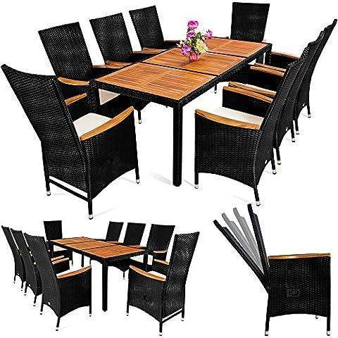 Alu Poly Rattan Sitzgruppe Sitzgarnitur Gartengarnitur Gartenmöbel Holz ✔ 8+1 ✔ Gestell aus wetterbeständigem Alu ✔ neigbare Lehne