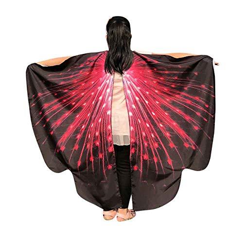 WOZOW Kinder Schmetterling Flügel Kostüm Nymphe Pixie Umhang Faschingkostüme Schals Poncho Kostümzubehör Zubehör (Schwarz Rot)