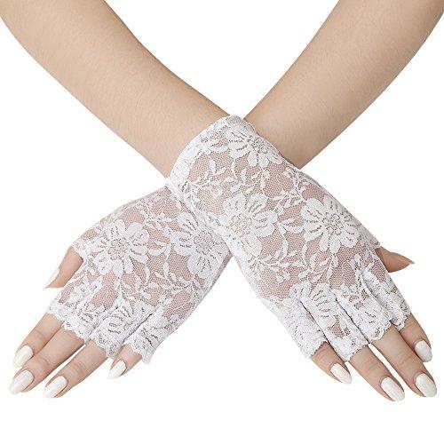 ArtiDeco Damen Lace Handschuhe Satin Braut Hochzeit Opera Fest Party Handschuhe 1920s Handschuhe Damen Kostüm Accessoires (Kurz Fingerlos ()