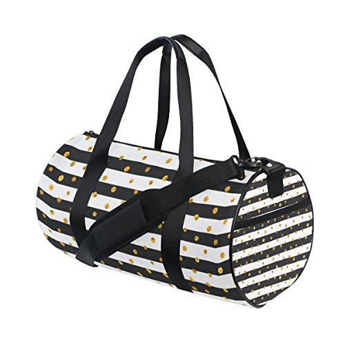 JSTEL Gold, Dots, Weiß und Schwarz-Weiß-Streifen für Sport Gym Beutel für Frauen und Männer auf Reisen Reisetasche