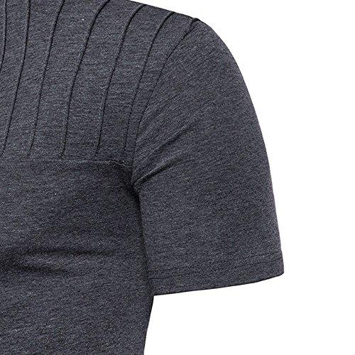 Mymyguoe Herren T-Shirt Mode Männer einfarbig Bluse Kurzarm -