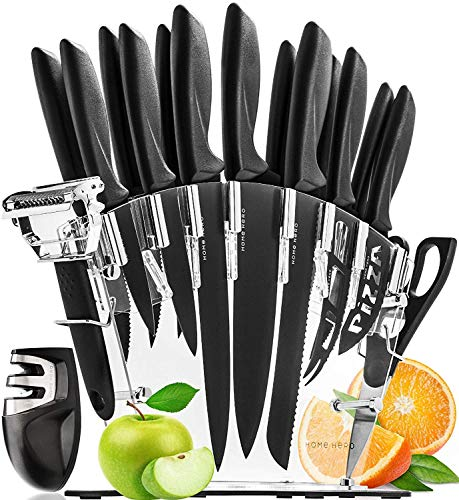 Ceppo portacoltelli con 13 coltelli da cucina e affilacoltelli di home hero | set con blocco in acrilico e 6 coltelli da bistecca, trinciante, pane, pizza, ecc. in acciaio inox | in omaggio pelapatate