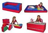 Kindersofa mit Bettfunktion 4in1 * Matratze Spieltisch Puzzle Sofa Spielsofa (Rot + Dunkelblau) Kindermöbel Kindersofa Schaumstoff Kindercouch Ausklappbar Spilsofa für Kinder Sofa Kindercouch