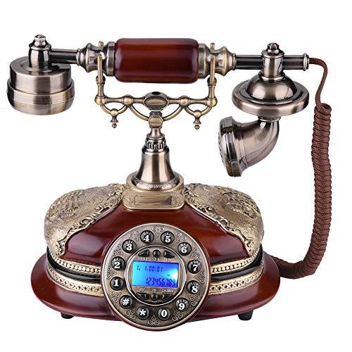 VBESTLIFE Telefono Fisso Telefono Antico d'Epoca di Stile Occidentale Vintage Telefono Rotativo di Archiviazione retrò con Doppio Sistema FSK/DTMF per Casa, Ufficio, ECC.