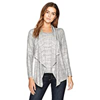 Ruby Rd. Women's Brushed Foil Printed Heather Jersey 2-Fer Twinset, Silver Combo, XLarge