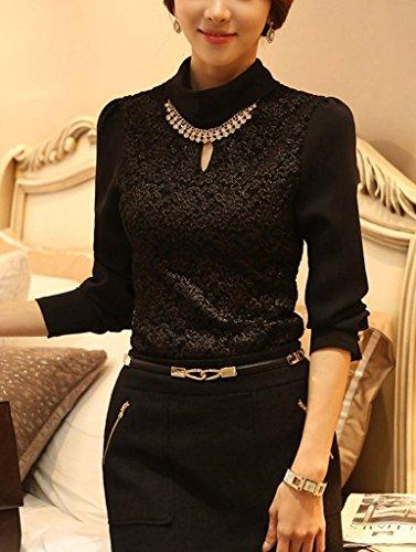 Minetome Femme Rétro Manches Broderie Dentelle Crochet T-Shirt Top De Mousseline De Soie Blouse Noir