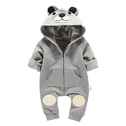 CHIC-CHIC Kleinkind Fleece OverallBaumwolle Wintermantel Schlafanzug Baumwolle Kapuzejacke Strampelanzug Bär Bekleidungssets