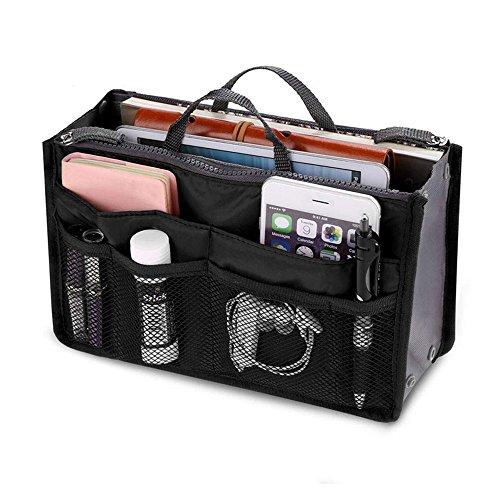 Bolso de mano Organizador Liner ordenados Bolsa de viaje bolsa Bolsa de cosméticos Insertar 13 bolsillos Gran insertar bolso organizador Con asas Para las mujeres de los hombres