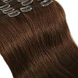 8 Mèches Extensions de Cheveux Humains a Clips Naturels - Double Epaisseur (Double Weft) - 100% Remy Hair (45cm-140g, 04 Marron chocolat)