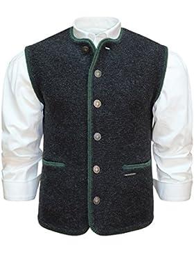 Strickweste Strickgilet Trachtengilet dunkelgrau Strick-Gilet anthrazit grau Rand grün Trachtenweste mit Taschen...