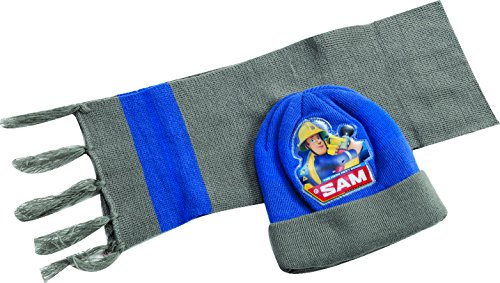 Official Licensed Fireman Sam Grey Beanie & Scarf, for ages 2-4