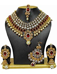 Shining Diva Non Precious Metal Traditional Kundan Jewellery Set, Necklace Set for Women with Earrings Maang Tikka and Passa (Red) (6849s)