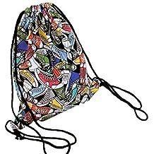 weimay Saco de lona Bolso mochila Gym Deporte Turn Bolsa Bolsa Bolsa de deporte, multicolor Backpack con cordón bolsa para viajes/deportes/Escuela
