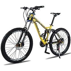 FJW Bicicleta de montaña Unisex, 26 Pulgadas Marco de aleación de Aluminio, Velocidad 24/27 Bicicleta MTB de Doble suspensión con Doble Freno de Disco,Yellow,24Speed