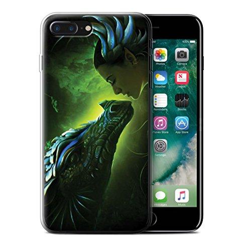 Officiel Elena Dudina Coque / Etui Gel TPU pour Apple iPhone 7 Plus / Pack 5pcs Design / Dragon Reptile Collection Écailles Vertes