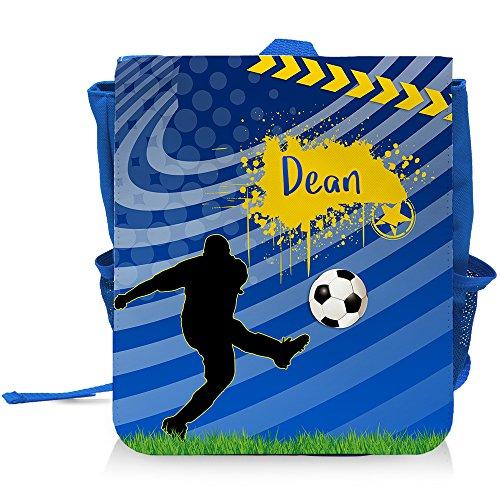 Kinder-Rucksack mit Namen Dean und blauem Fußball-Motiv für Jungen