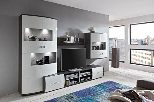 Wohnwand 'Circle 3' Hochglanz lackiert Weiß Grau Vormontiert