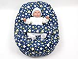 Baby Liegekissen, Lagerungskissen, Alternative zur Babywippe oder Babyliege, auch als Sitzsack für Kinder geeignet, Motiv: Sterne blau