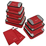 Gonex – 9 Packs Organizador para Maletas/Viaje Bolsas de Embalaje/Almacenaje Ultraligeros Multifuncionales Rip-Stop de Nylon Rojo
