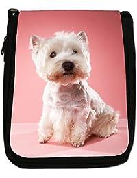West Highland Terrier Westie Dog Medium Black Canvas Shoulder Bag - Size Medium