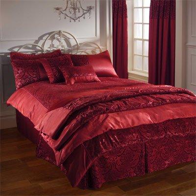 Linens Limited Royal Damast Plattform Bettvolant für Einzelbett, rot (Rote Damast-volant)