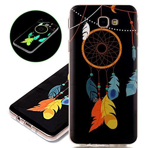 Coque Galaxy J5 Prime, ISAKEN Coque pour Samsung Galaxy J5 Prime - Peinture Style Lumineux Luminous Etui PU Cuir Flip Magnétique Portefeuille Etui Housse de Protection Coque étui Case Cover avec Stand Jaune dreamcatcher