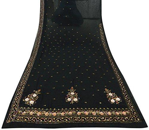 Jahrgang Ethnic Indian Gebrauchte Schwarz Saree Georgette gestickte Craft Sari (Fuß Bollywood Dekorationen)